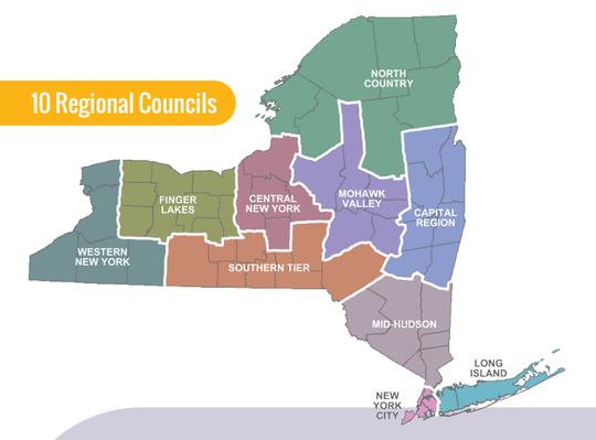 regional map of NY