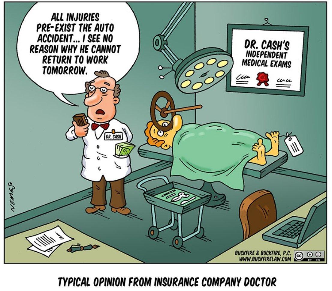 independent medical exam cartoon